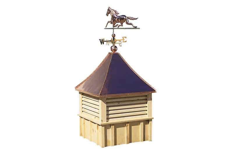A B20 copper top cupola with weather vane.