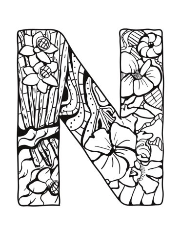 Letter N Zentangle Coloring Page From Zentangle Alphabet Category Select From 30582 Printable Cr Mandala Coloring Pages Alphabet Coloring Pages Coloring Pages