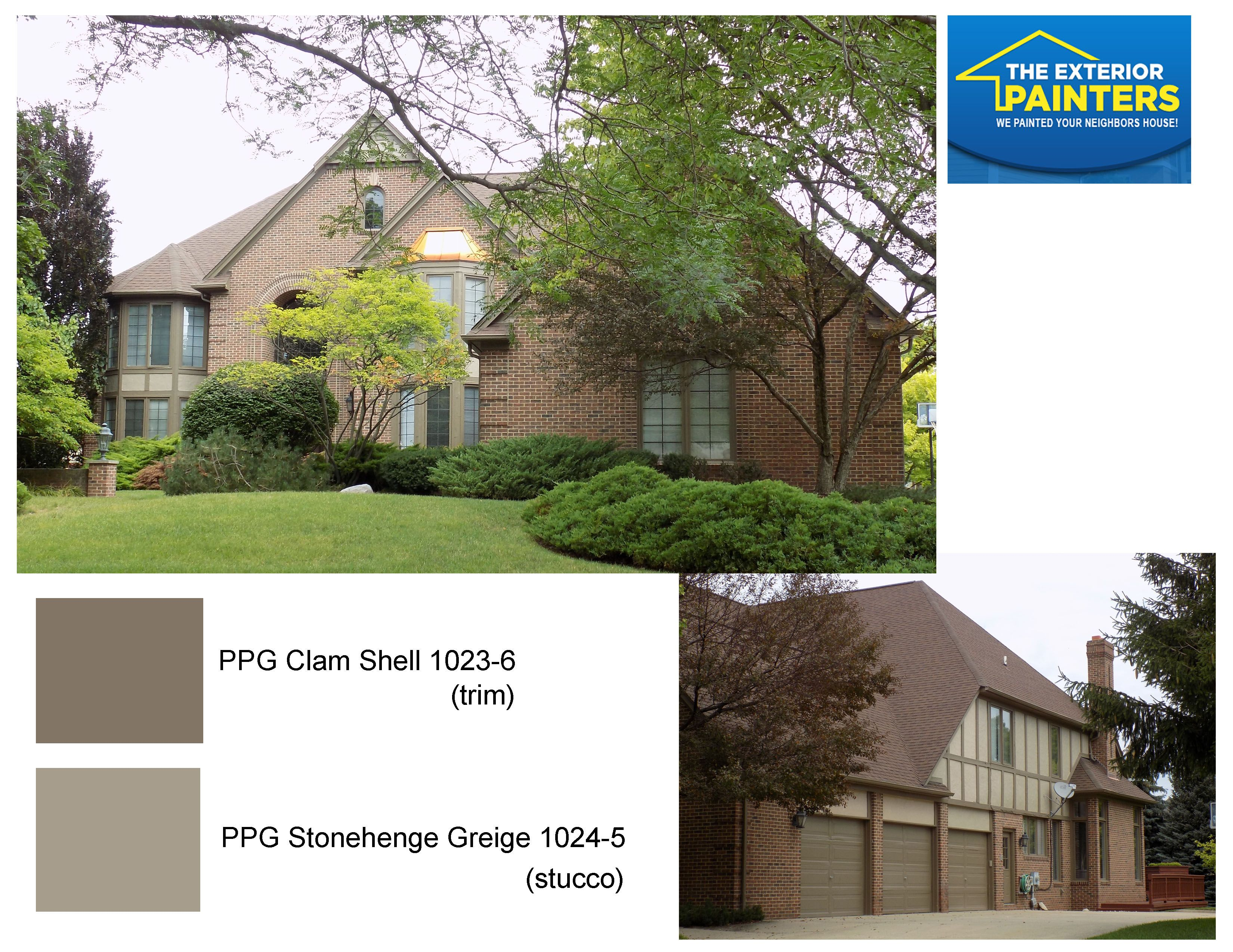 Brand new PPG 1023-6 Clam Shell for the trim and PPG 1024-5 Stonehenge  OJ14
