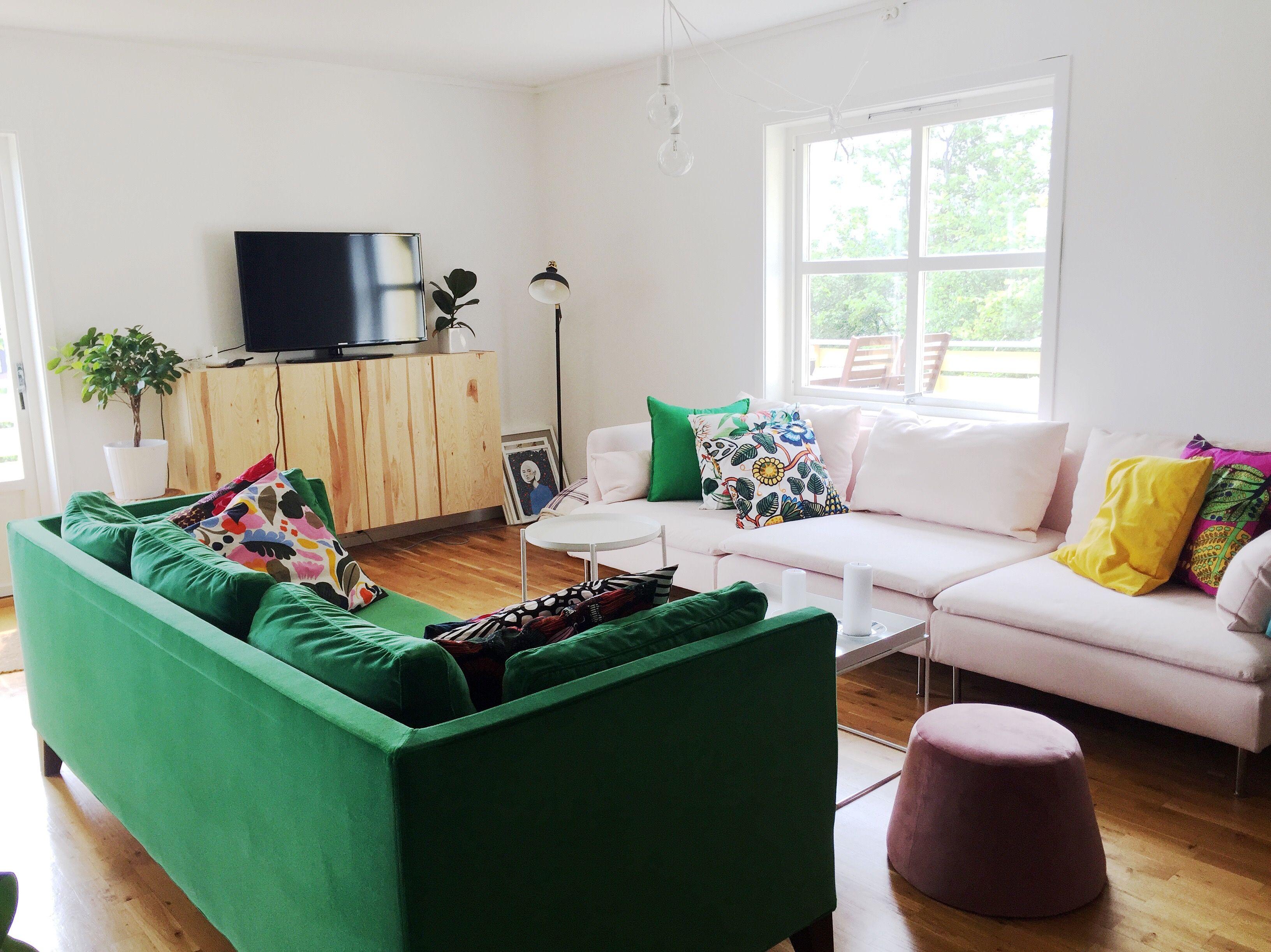 Home Living room green IKEA Stockholm sofa pink IKEA Söderhamn