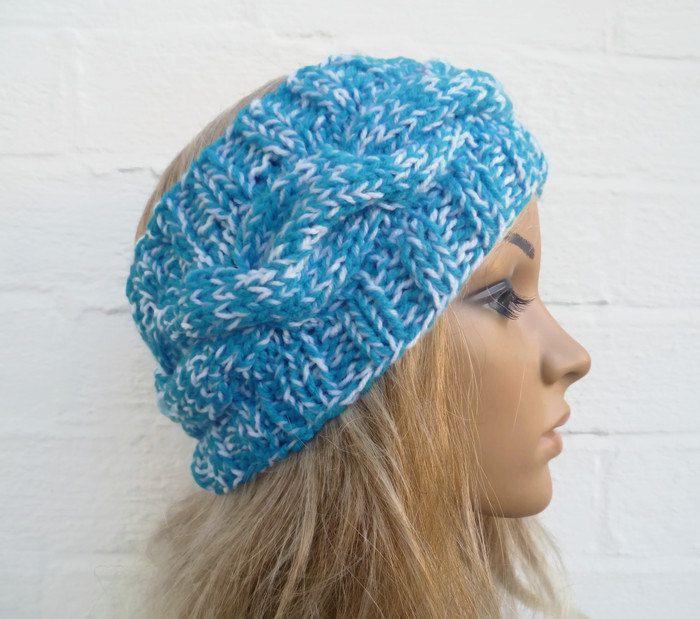 Hand Knitted Ear Warmer Headband, Women Cabled Turquoise White Headband, Hand Knitted Ski Headband, Chunky Acrylic, Clickclackknits by Clickclackknits on Etsy