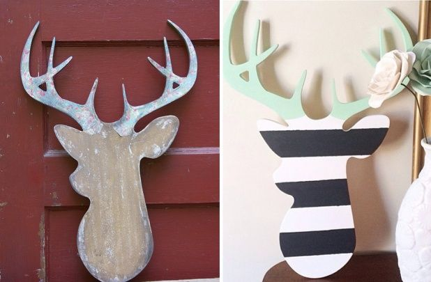 Unfinished Wood Deer Head Cutout Wood Yard Art Wood Crafts Wood Deer Head