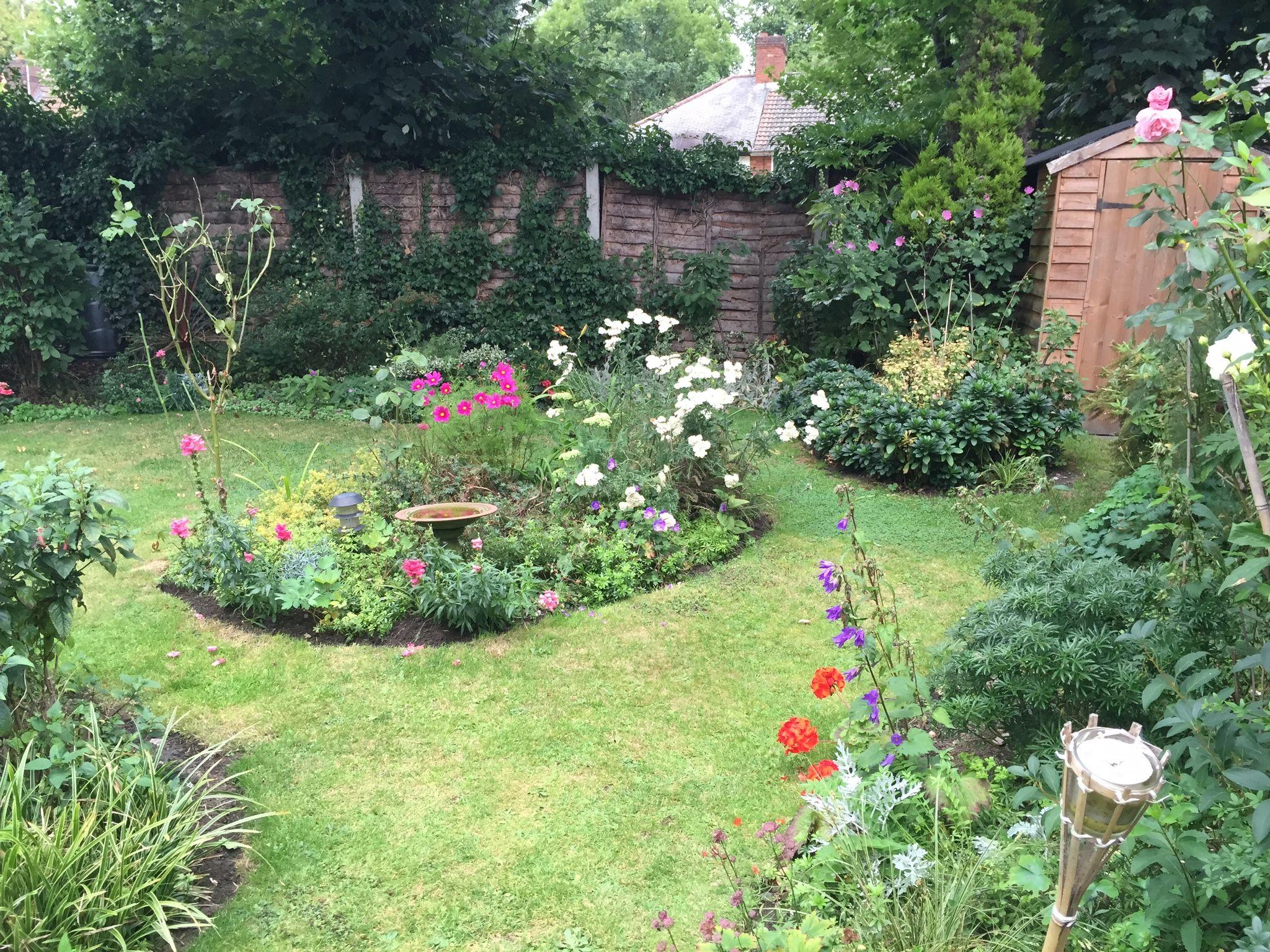 Corner shed in urban garden