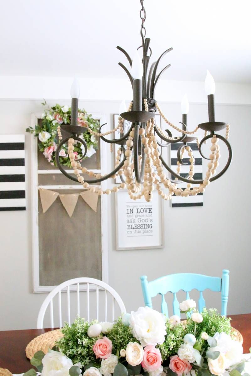 Spring Home Tour 2017 Wood Bead Chandelierchandeliershappy