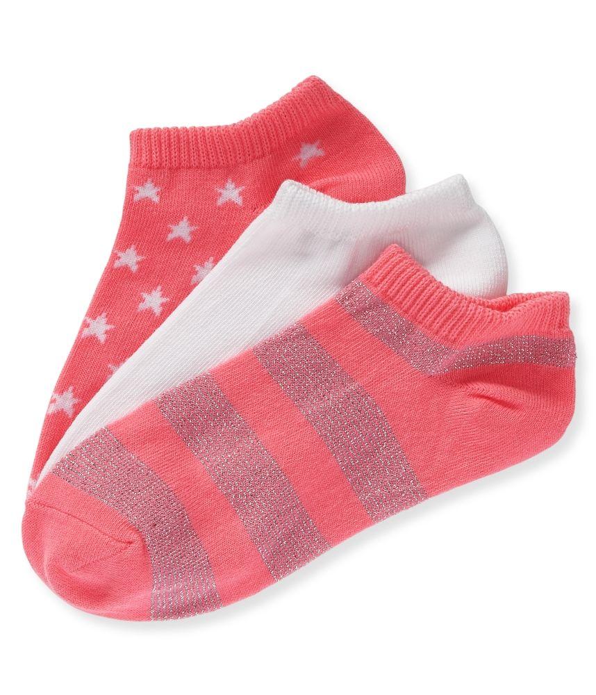3-Pack Stripe, Solid & Star Ped Socks - Aeropostale