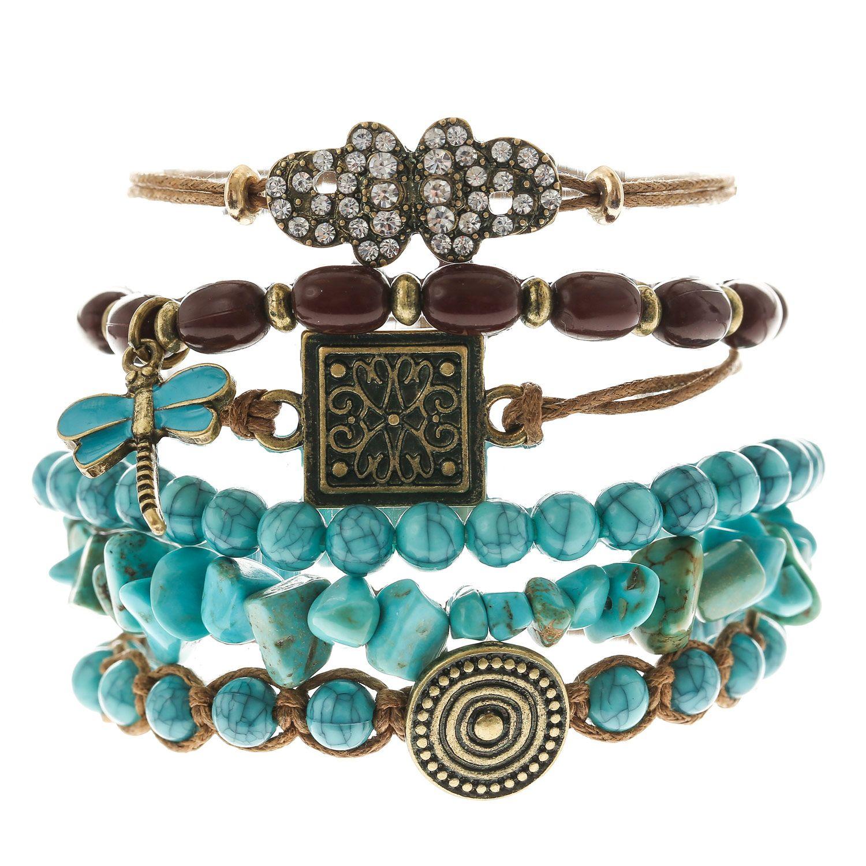 Turquoise Bead Aztec Bracelet Set