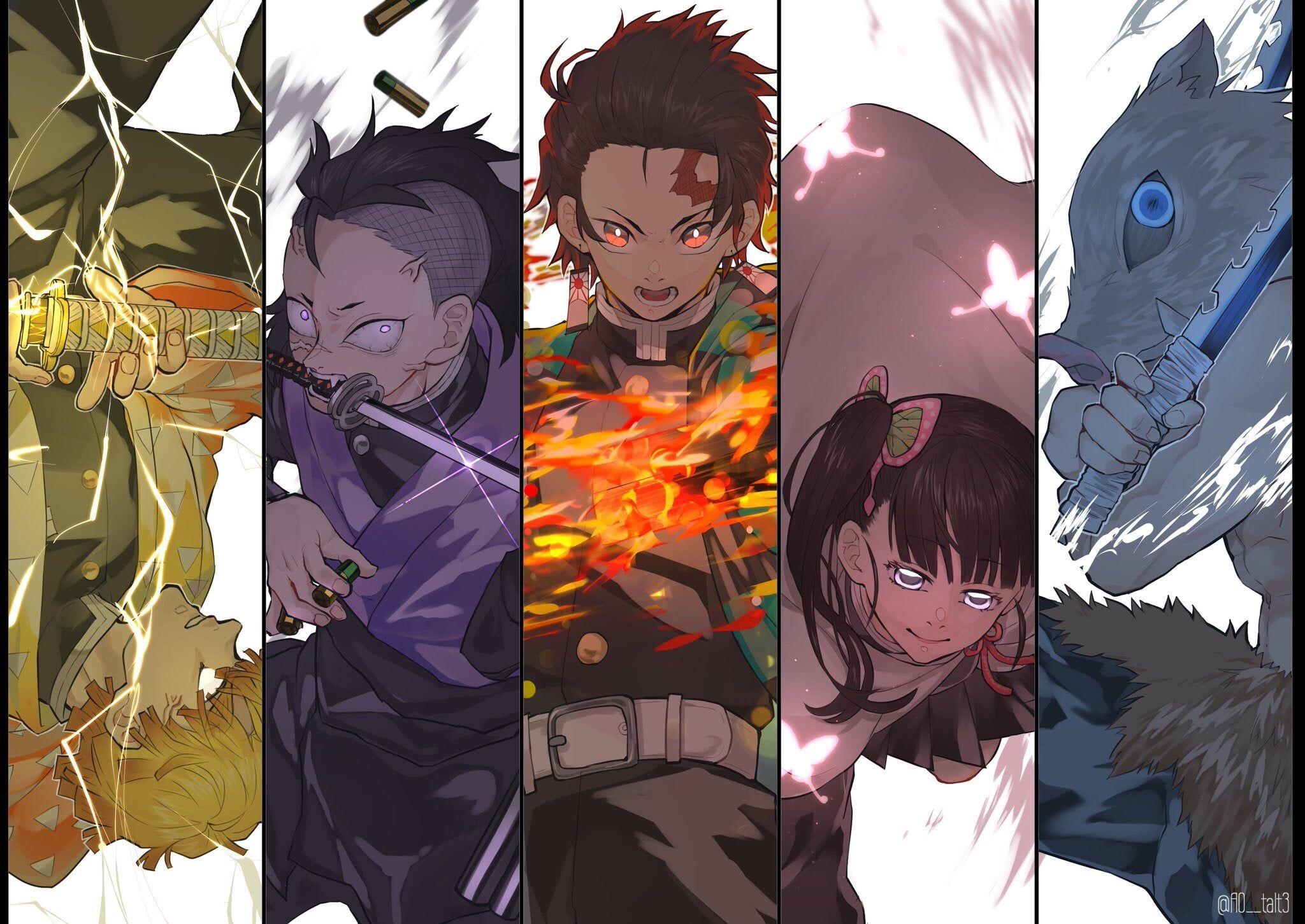 Anime Demon Slayer Kimetsu No Yaiba Inosuke Hashibira Kanao Tsuyuri Tanjirou Kamado Zenitsu Agatsuma 1080p Wallpaper Hdwall In 2020 Anime Demon Anime Slayer Anime