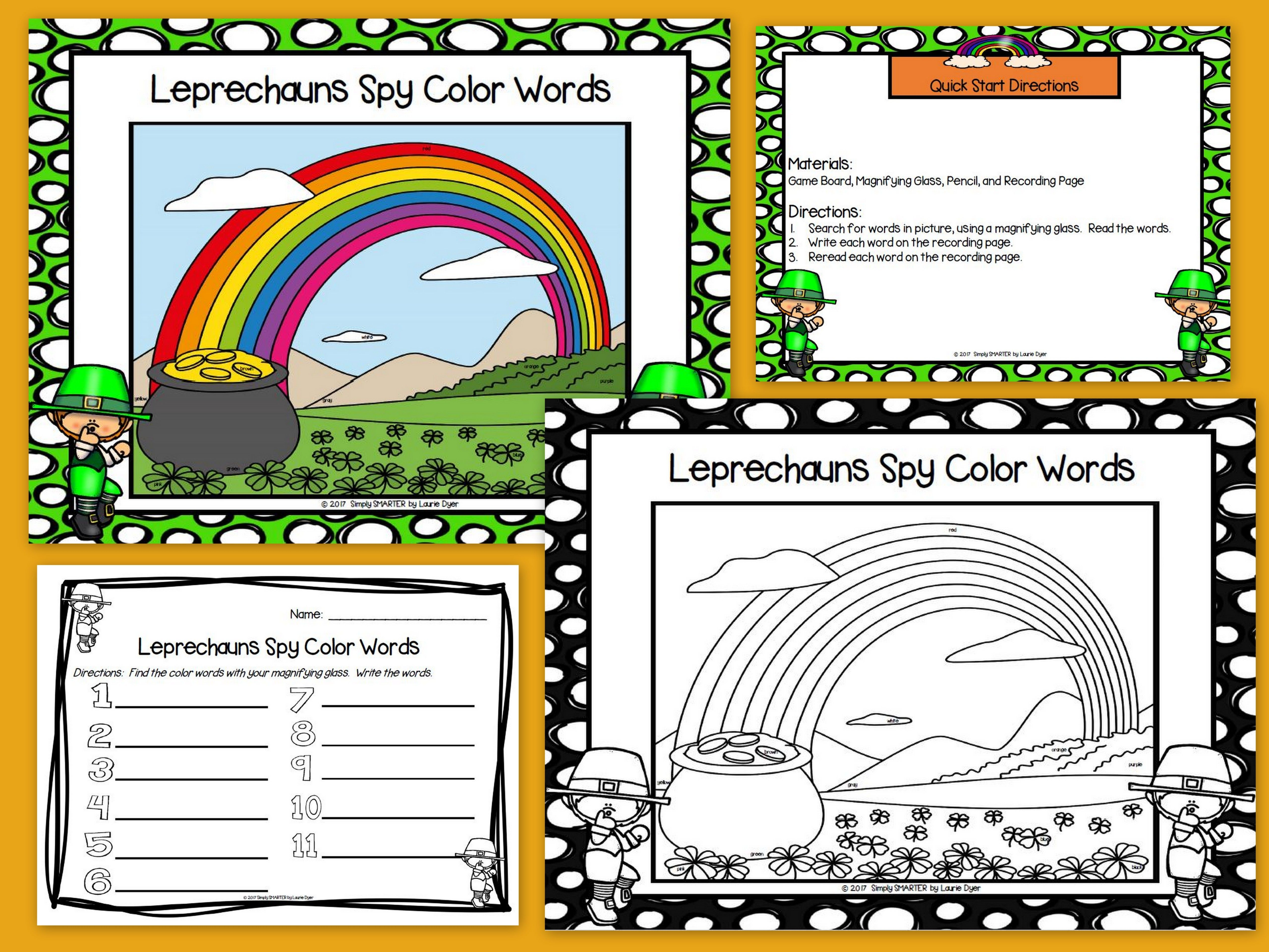 Leprechauns Spy Color Words No Prep I Spy Game