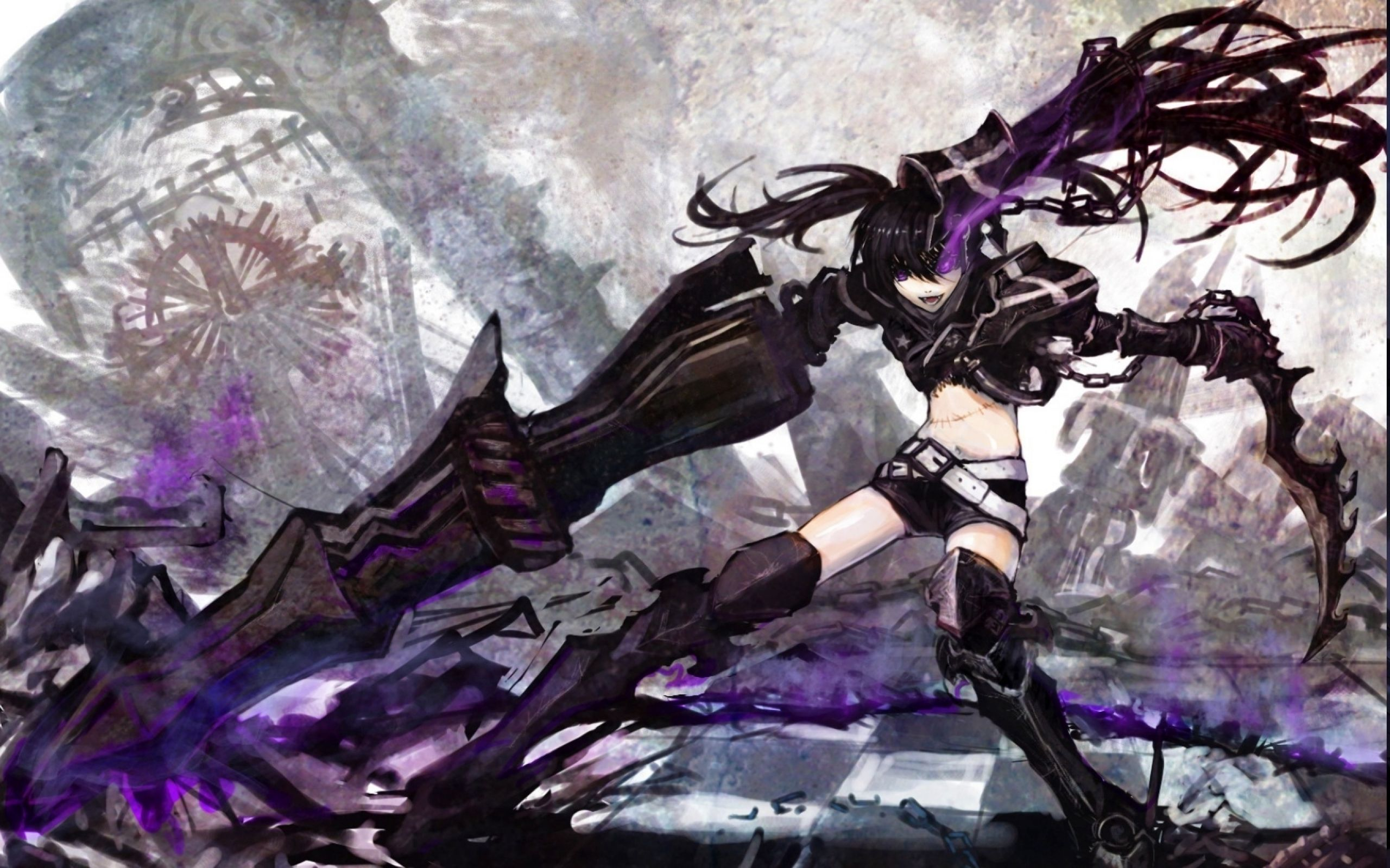 women black rock shooter purple insane evil | black rock shooter