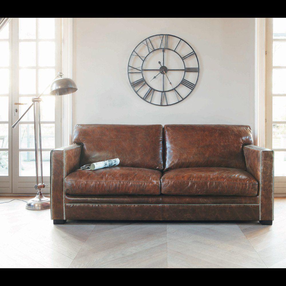 Canapé Cuir Places Fixe Marron Dandy Déco Maison Pinterest - Canapé 3 places pour objets de décoration d intérieur