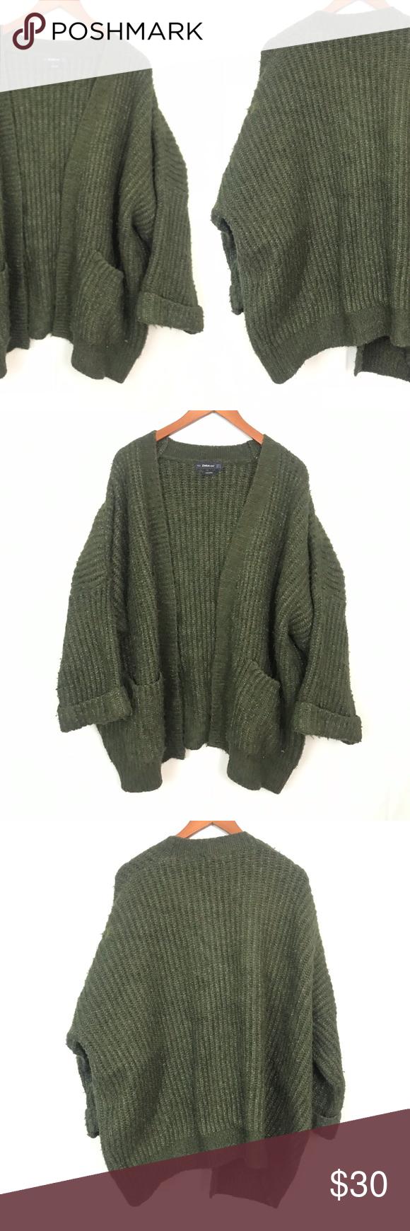 Zara Knit | Oversized Wool Blend Knit Cardigan S | Knit