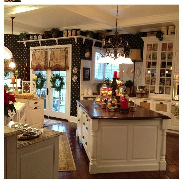 Overhead Kitchen Cabinet 2019: Country Kitchen. I Love The Shelves Near The Ceiling