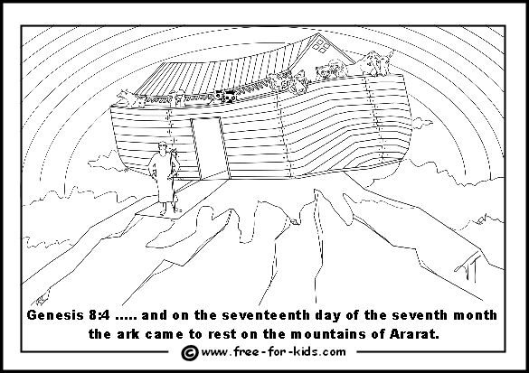 Coloring page that shows Noah's Ark resting on the