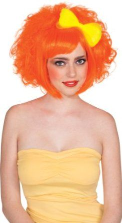 Amazon.com: Rubie's Costume and Bow Cutie Doll Wig, Neon Orange/Yellow, One Size: Curly Wig: Clothing