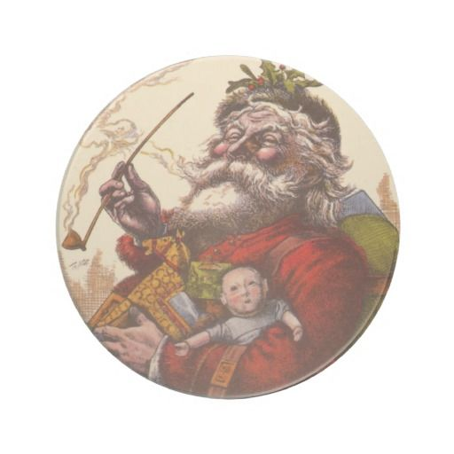 Vintage #Christmas, Victorian Santa Claus Pipe Toys Drink Coaster #holidays #gifts #zazzle