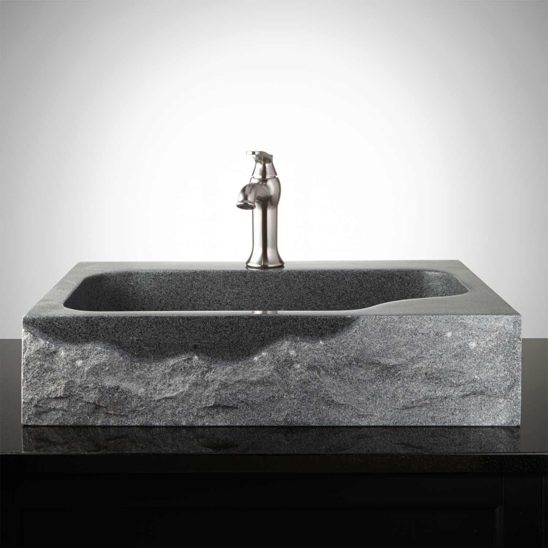 Rectangular Black Granite Vessel Sink With Polished Exterior Bathroom Sinks