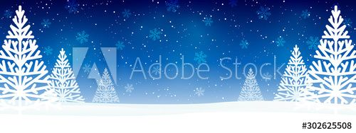 Christmas trees on blue starry background - horizontal panoramic banner for Your design , #AFF, #blue, #starry, #Christmas, #trees, #background #Ad