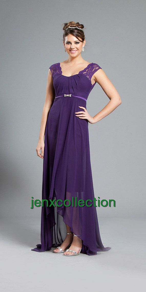 Dark purple lace top chiffon bridesmaid dress by jenxcollection ...