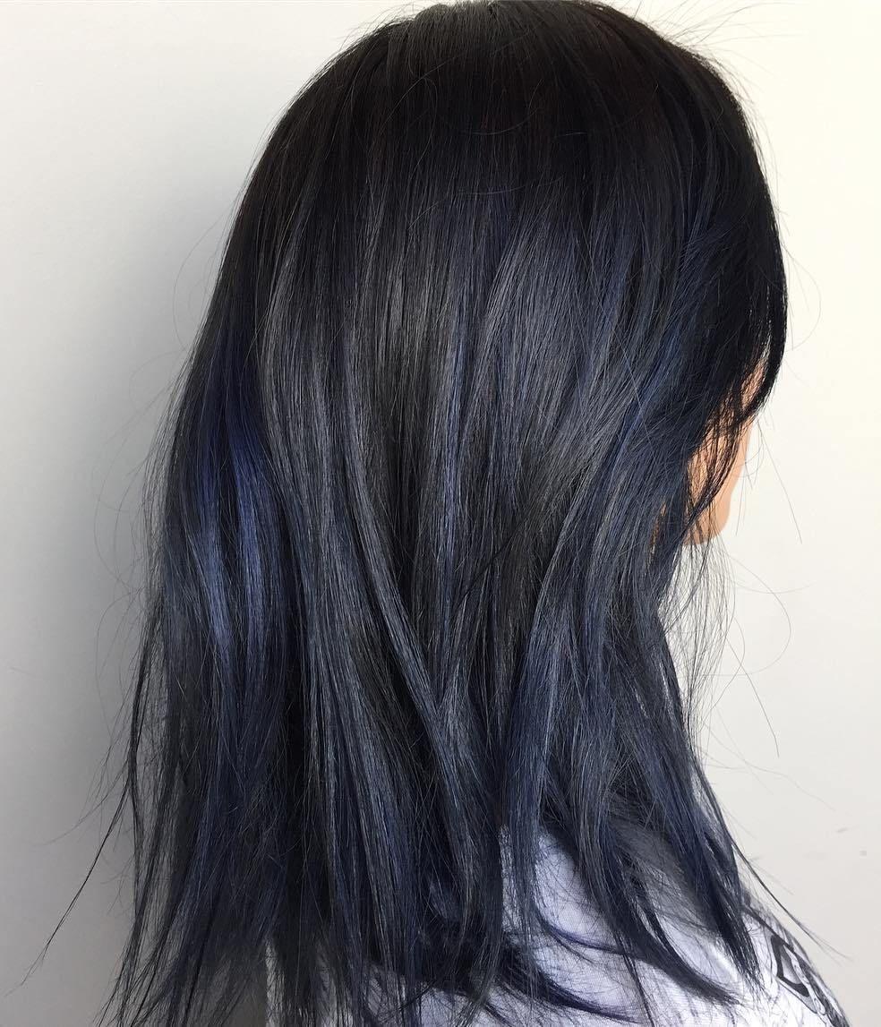 Black Hair With Subtle Blue Highlights Hair Dye Ideas Pinterest