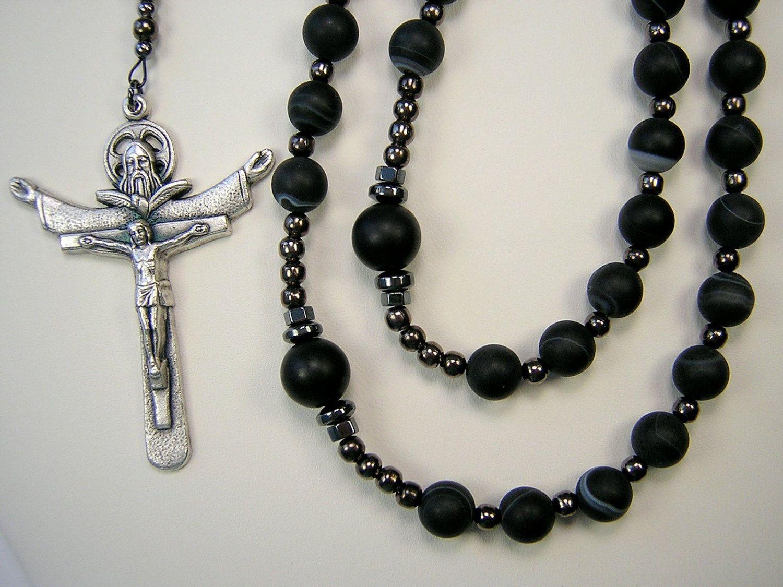 Mens rosary xlong catholic necklace inch matte black banded