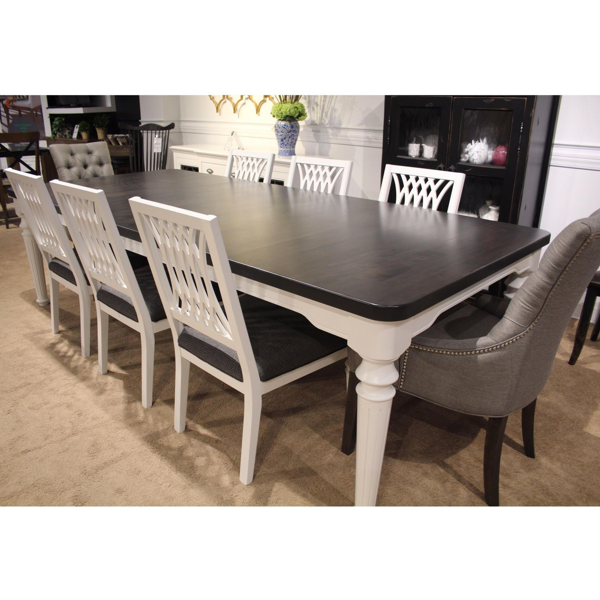 Ca108 Table And Chairs With Ca109c End Chairs 9 Piece Set White Dining Table Canadel Furniture Grey Dining Room