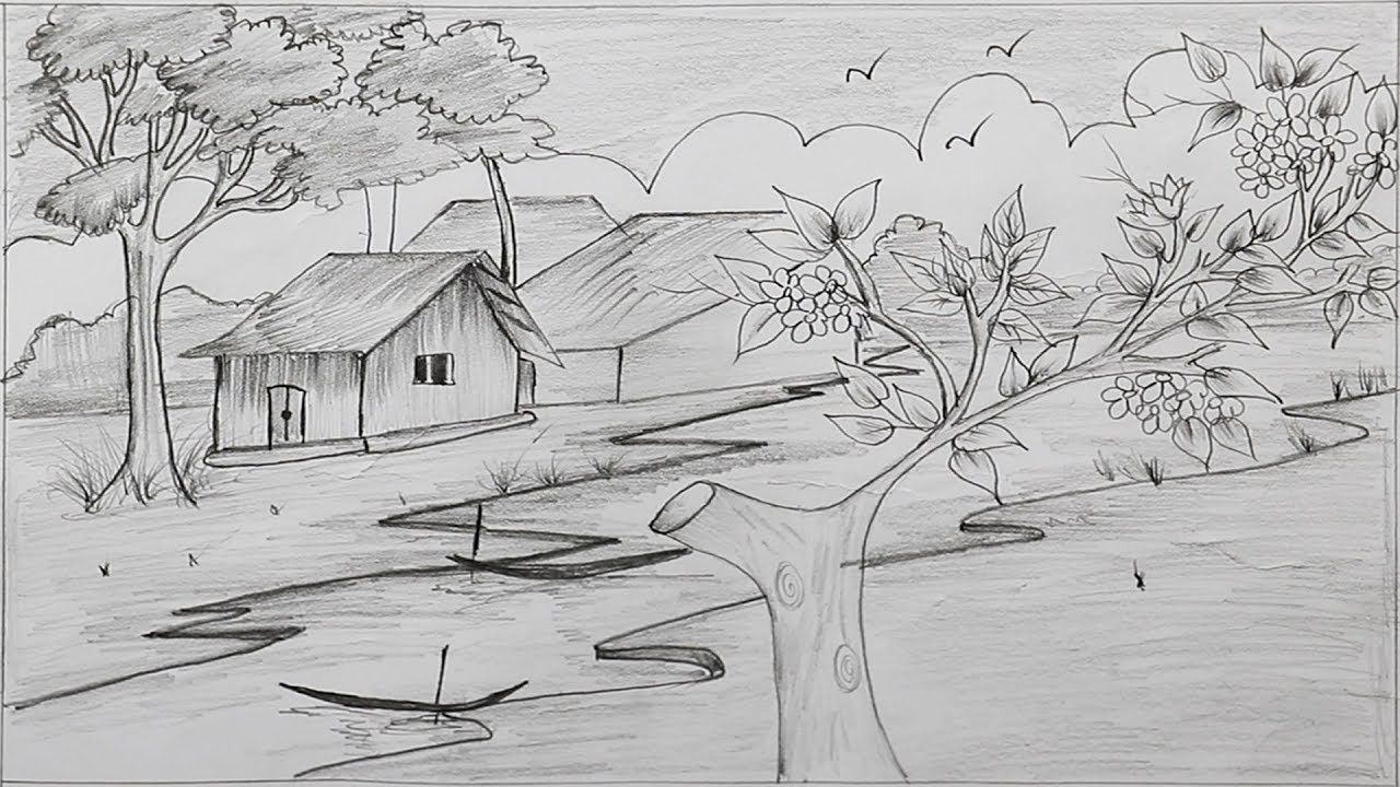 How to draw a village scenery with pencil step by step in