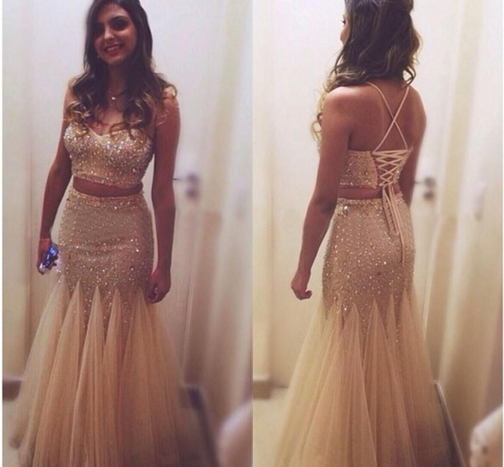 Two Piece Burgundy Prom Dresses 2015 Sexy Long Elegant Spaghetti Straps  Lace Up Sparkly Sequined Beaded Mermaid Evening Dress Online with   108.91 Piece on ... 91d9487efc60