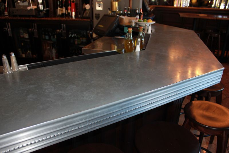 Zinc bar top photo from zinc bar for Zinc countertop cost