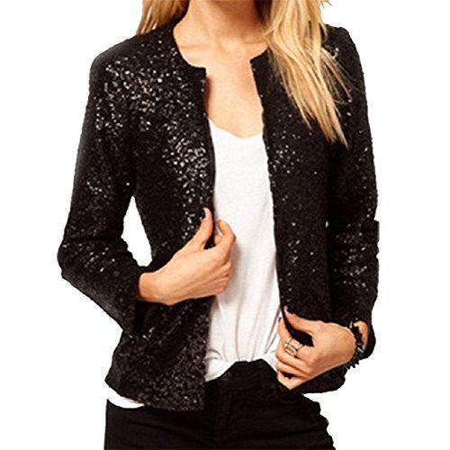 Women Silver Purple Black Bling Sequins Round Neck Short Jacket Coat Black L
