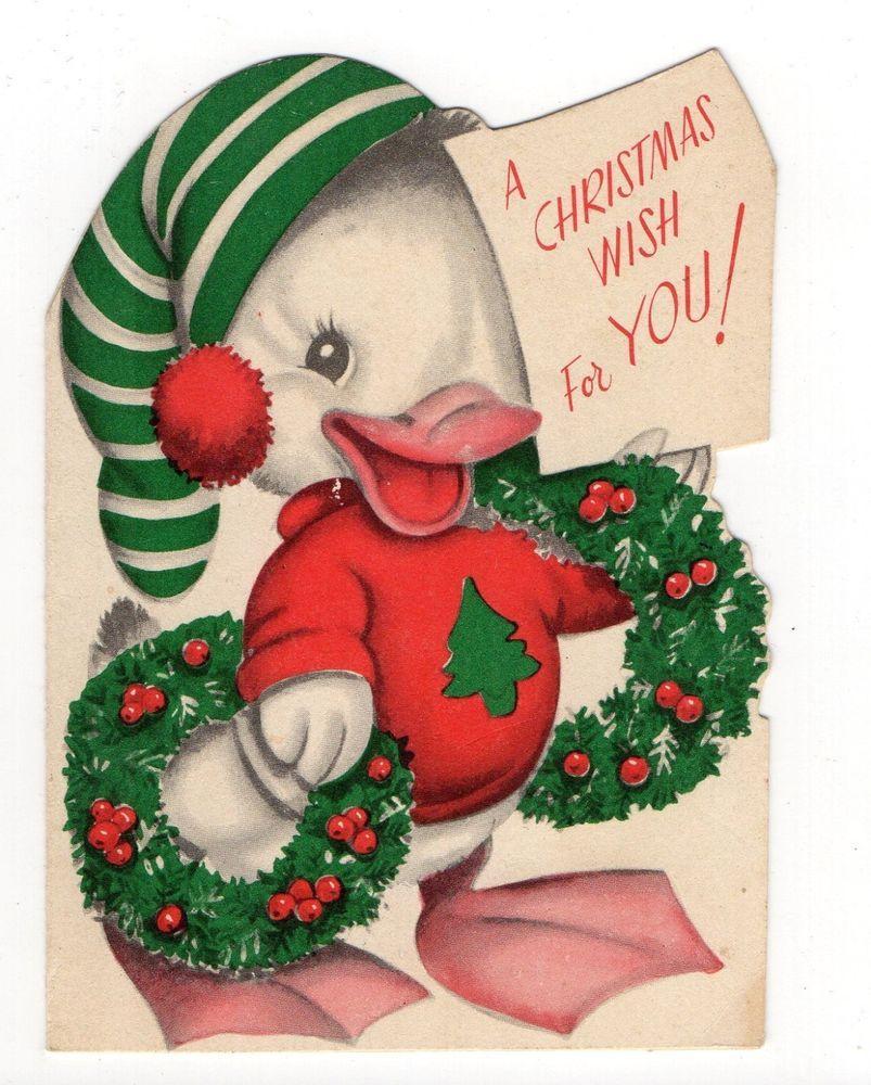 Vintage Rust Craft Christmas Greeting Card Cute Duck Holding Wreaths Diecut