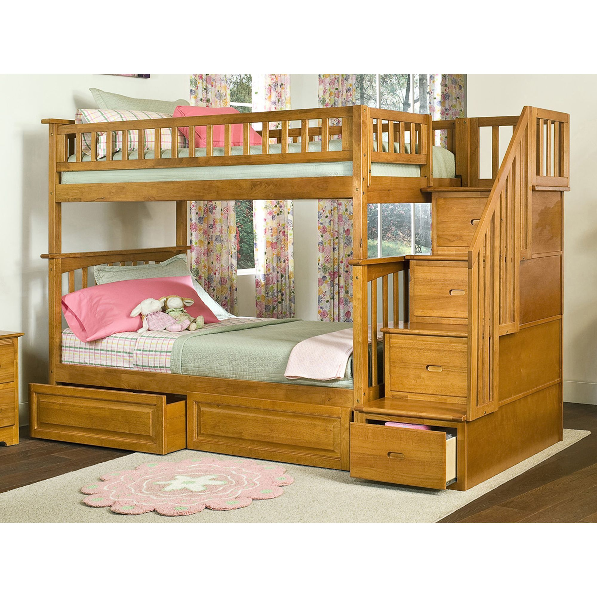 Atlantic Columbia Staircase Bunk Bed Over With Raised Panel Drawers In Caramel Latte