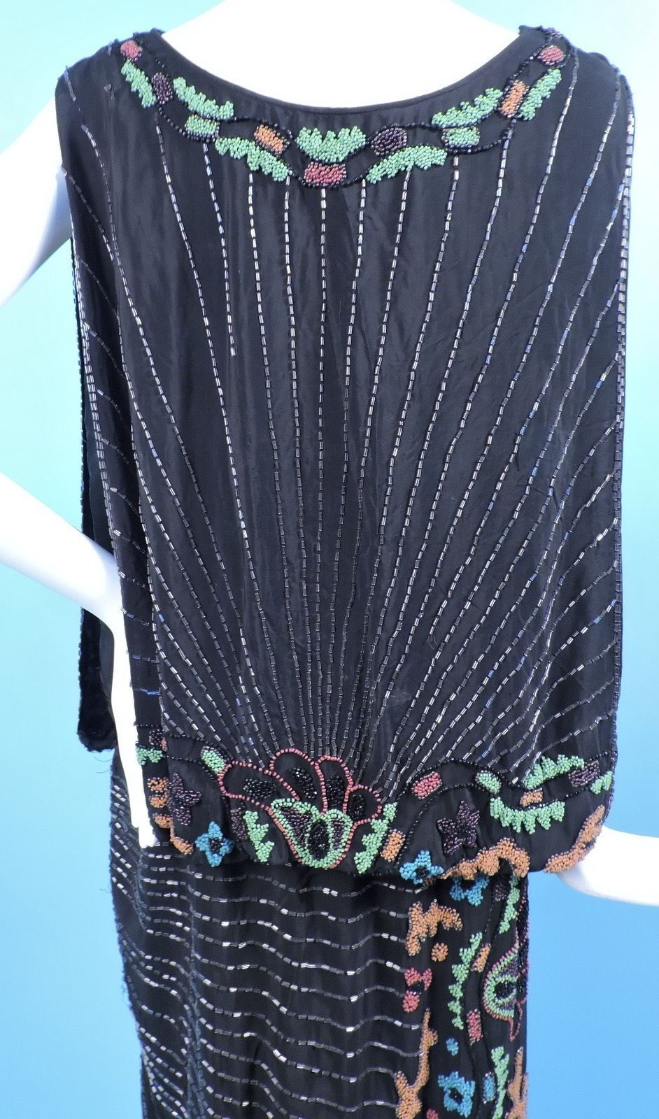 1920's Black Silk Flapper Dress w Multicolored Floral Glass Beading. Detail
