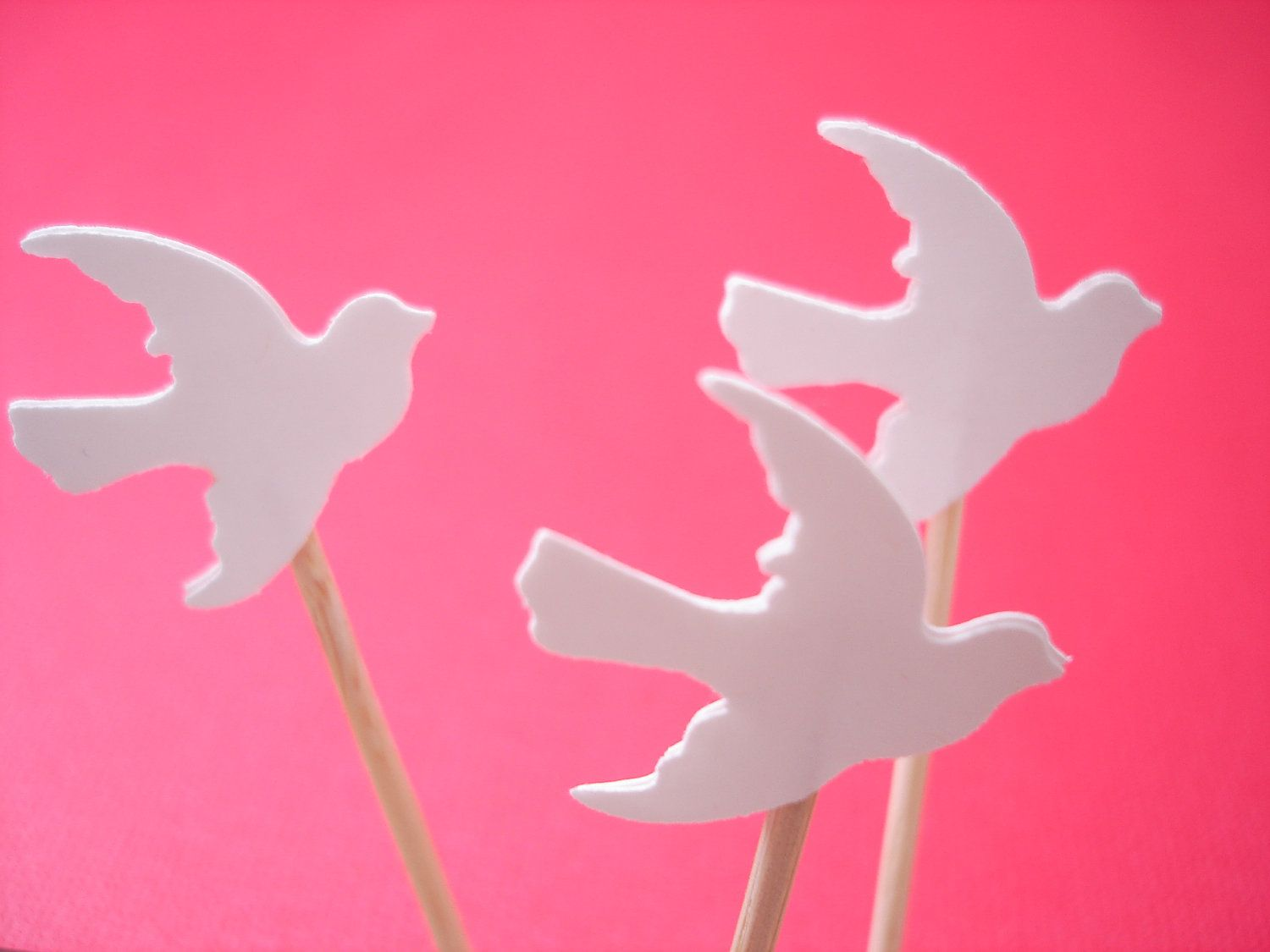 24 White Dove Cupcake Toppers, Baby Shower Party Decorations - No678 ...