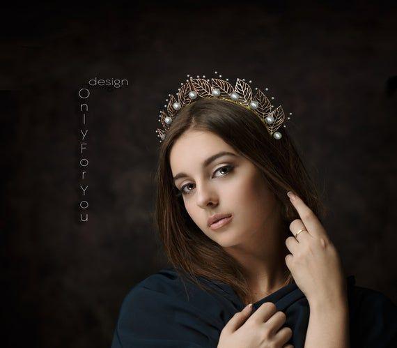 Greek Crown,Pearl crown,Leaf crown,Bridal Crown,Bridal Headpiece,Leaf Tiara,Leaves crown,Bridal Tiar