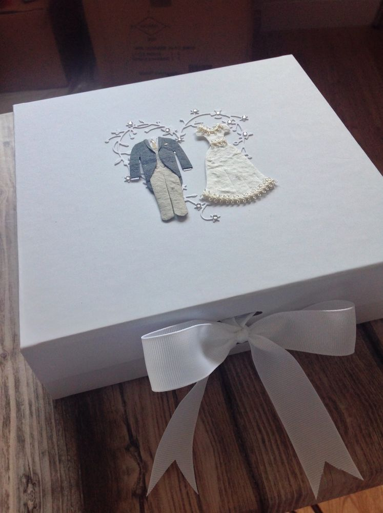 Wedding Keepsake Box With Magnetic Closure And Ribbon Tie Gift To