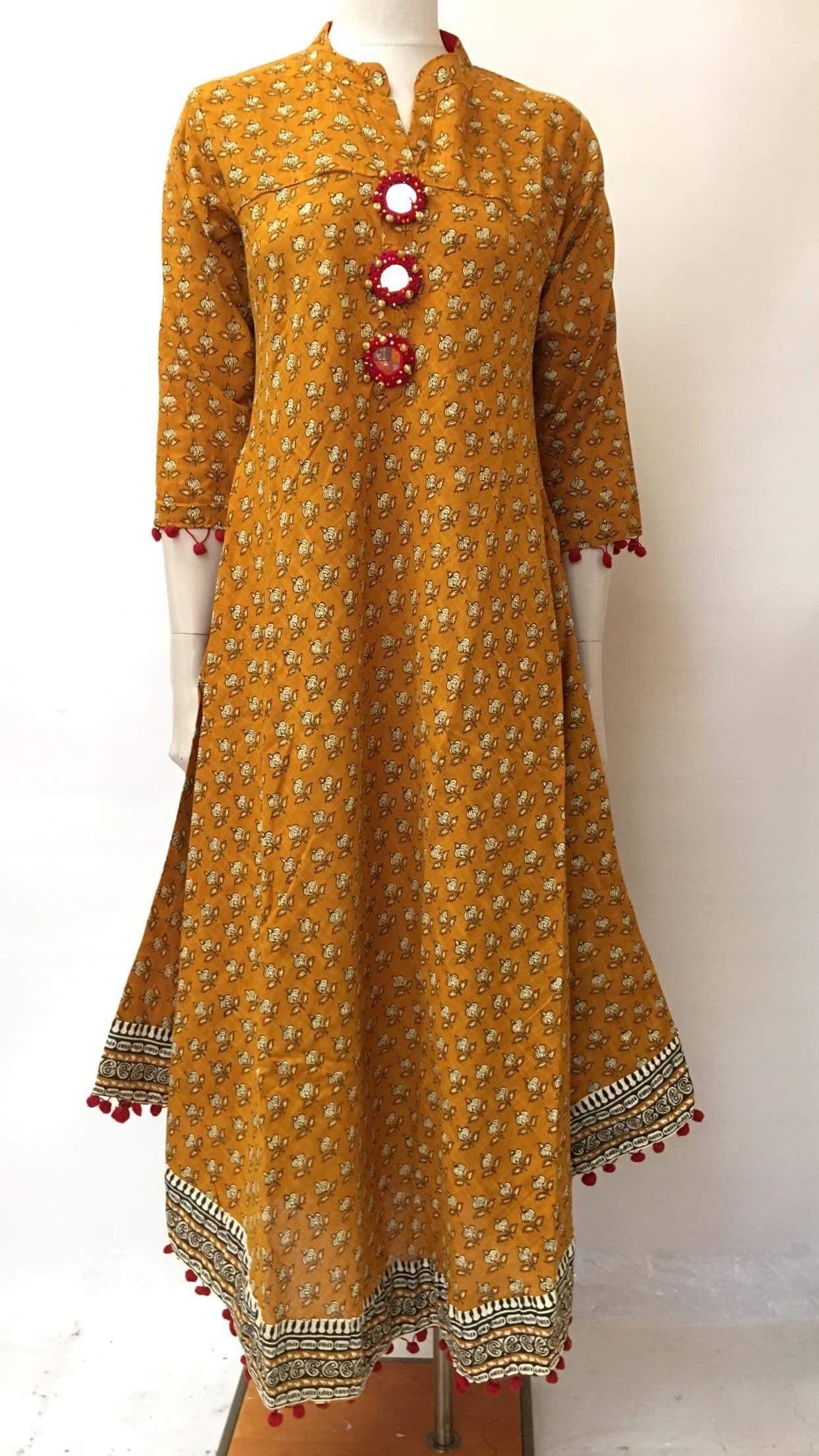 Cotton Block Printed Floor Length Dress Dresses Indian Kurti Designs Kurta Designs
