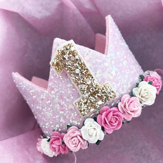Birthday Crown – Glitter Party Crown – Cake smash crown. Elección de colores y tamaños. Rosa, blanco, azul, etc. y primer, segundo cumpleaños, etc.