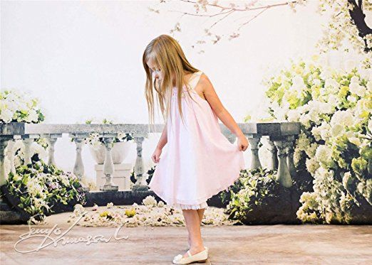 SUSU Scenic White Flowers Photography Backdrops 5x7ft Brick Floor Family Balcony Photo Background for Princess Studio