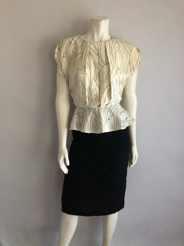 Vintage Women S 80 Peplum Dress Black White By All That Jazz Freshandsy On Etsy