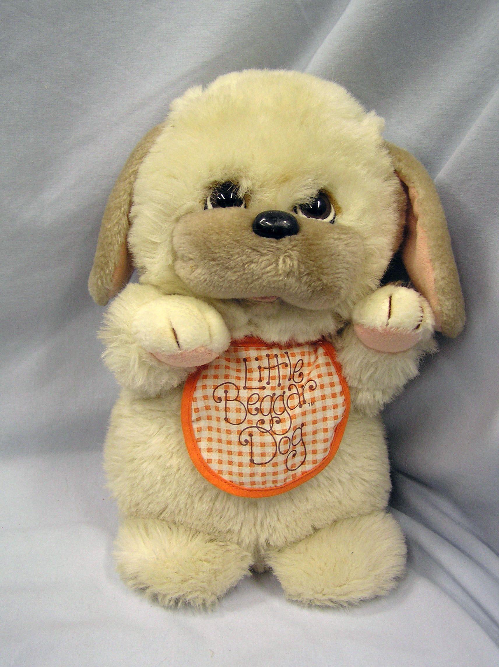 1982 Applause Little Beggar Dog Plush Toy W Orange Bib Puppy 12