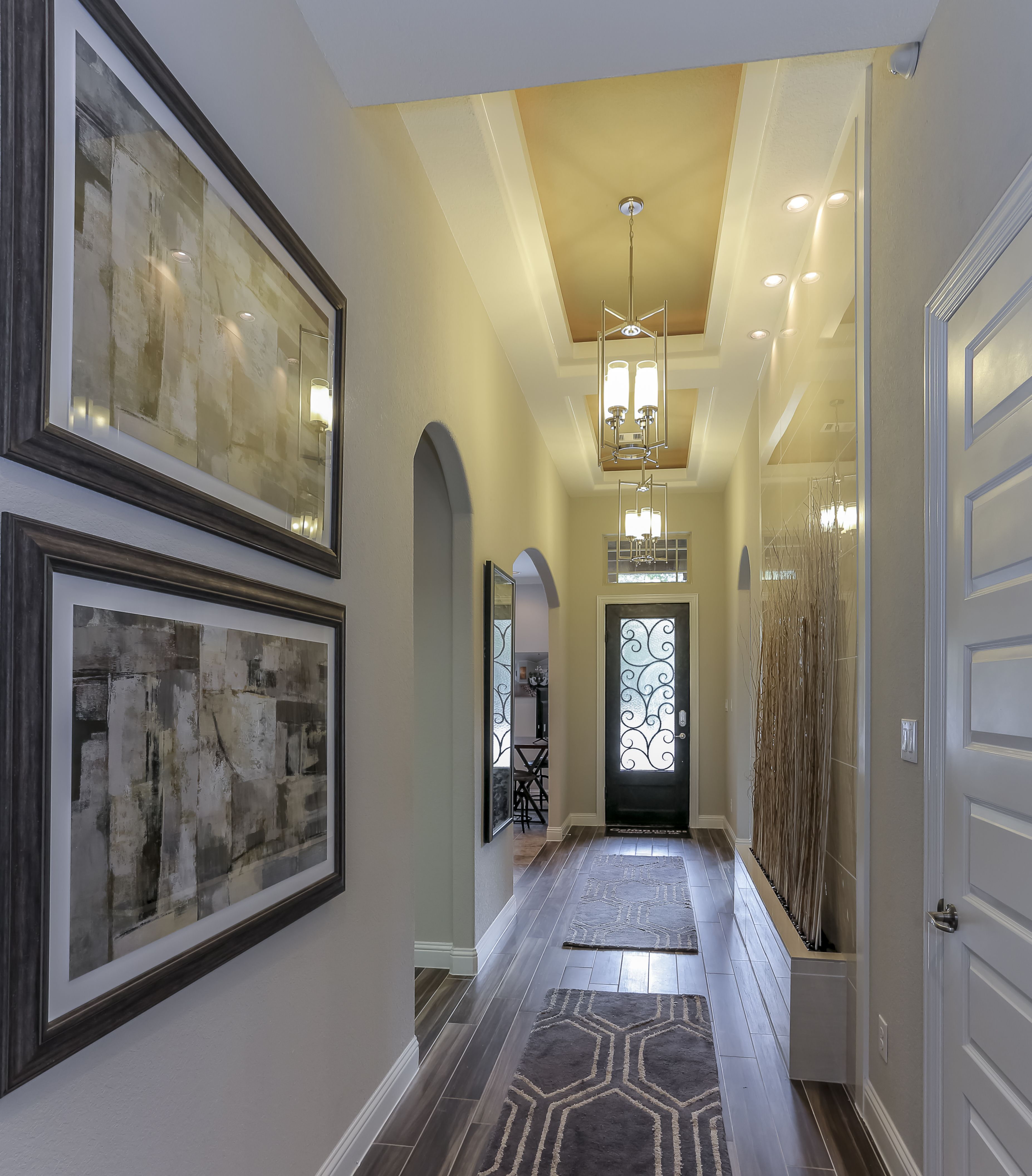 Gehan homes entryway tray ceiling long hallway beautiful room dailygadgetfo Image collections