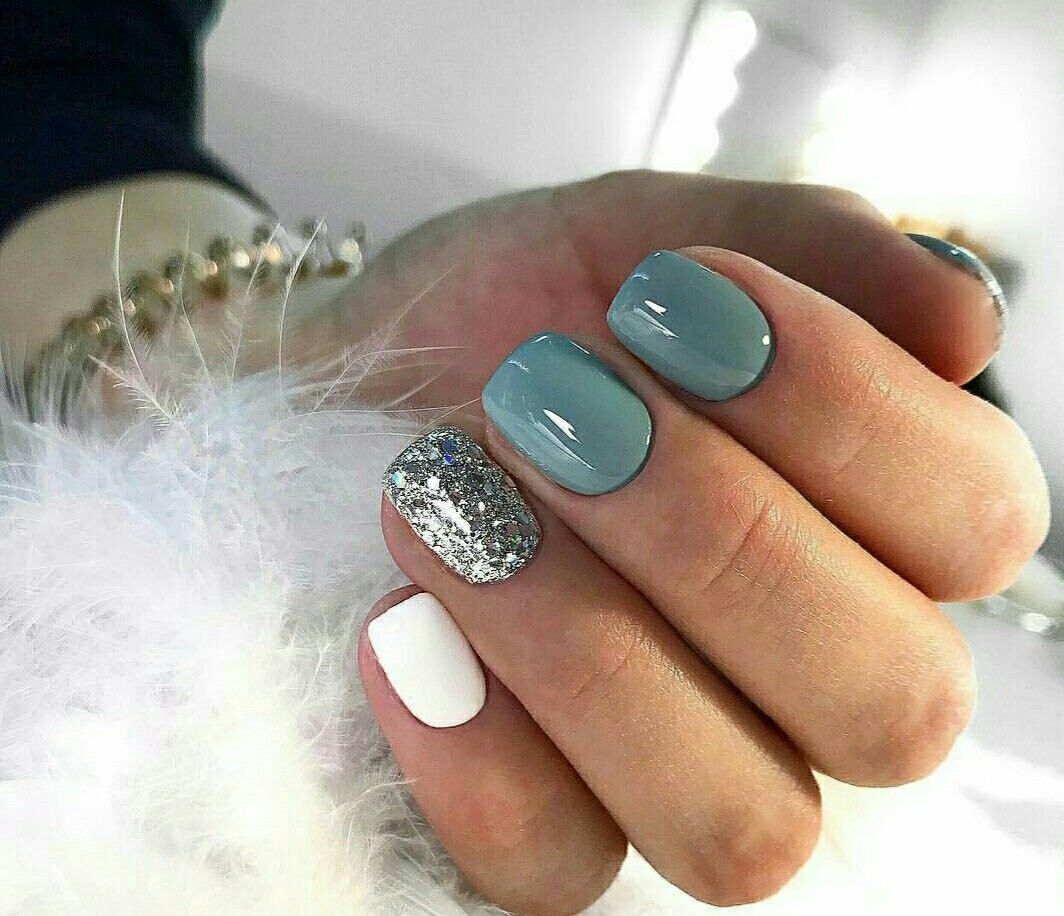 Teal White And Silver Nails Pretty Nail Colors Gel Nails