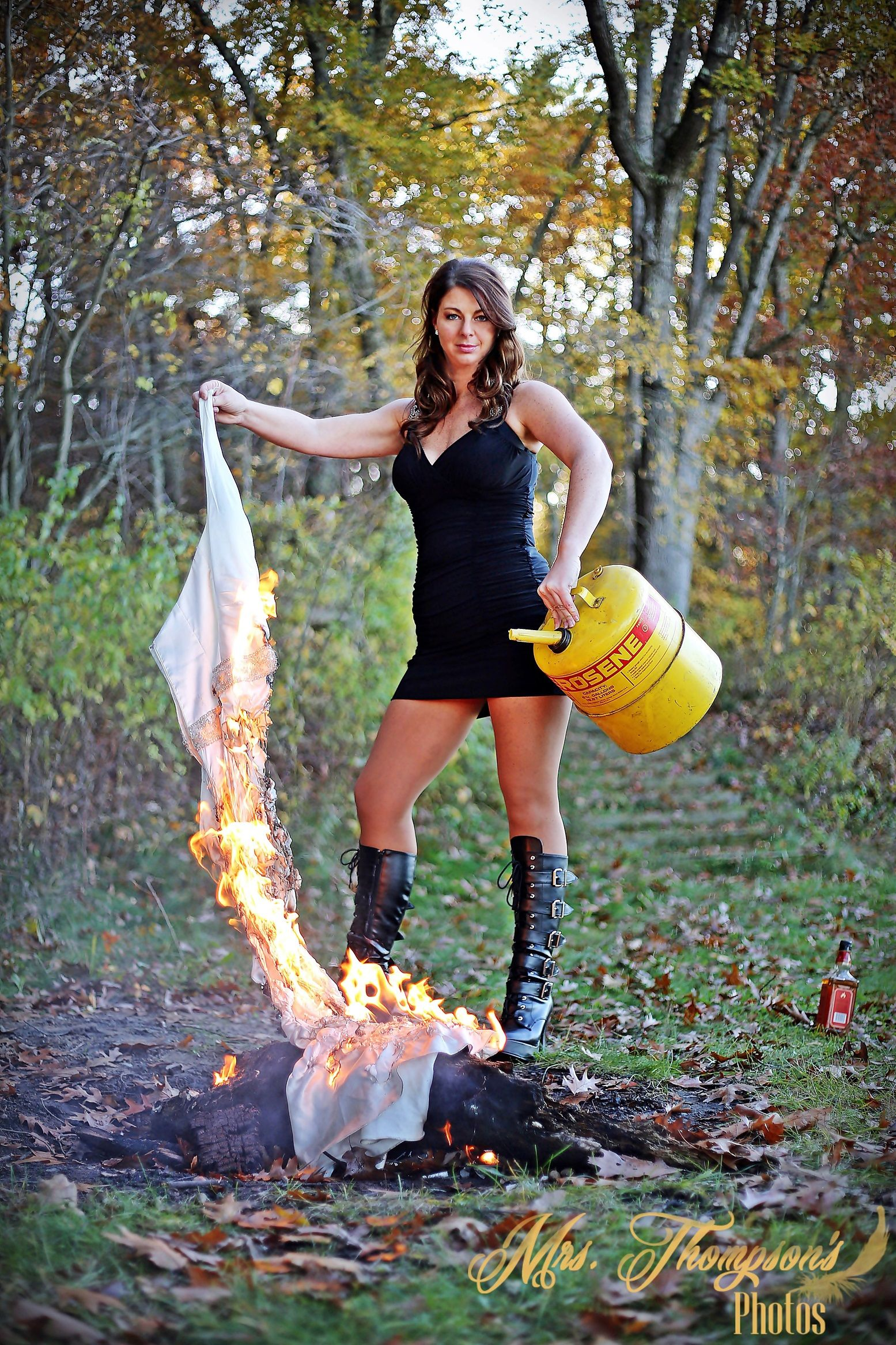 Something Trash the dress on fire