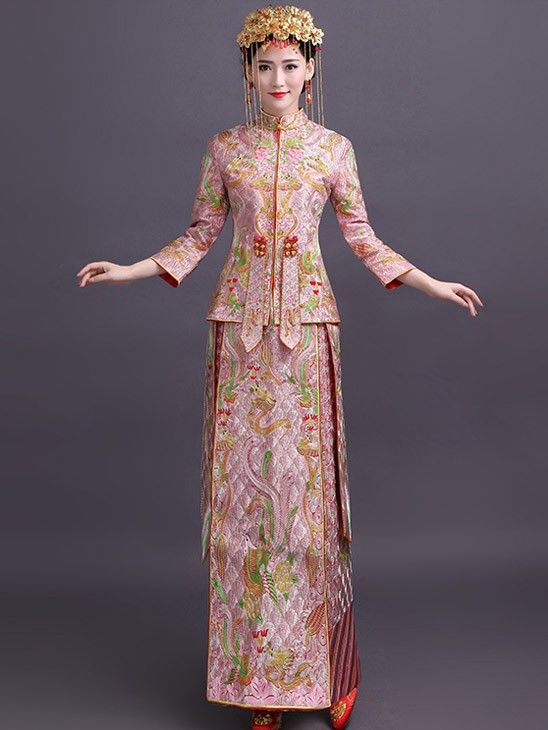 Pink Embroidered Chinese Wedding Qun Kwa Traditional Outfits Chinese Wedding Dress Oriental Fashion