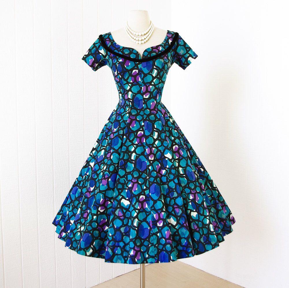 vintage 1950\'s dress ...pretty SUZY PERETTE cotton abstract ...