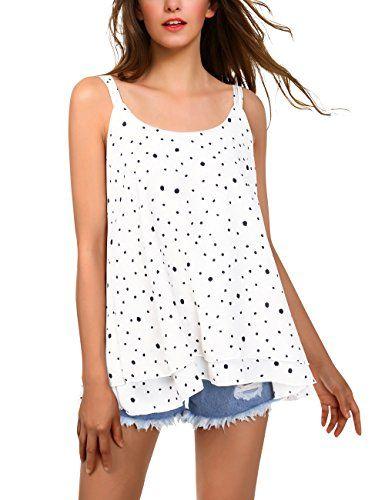 BaiShengGT Débardeur Femme Tops Gilet Vest T-Shirt Blouse Sans Manches Tank  Été Soie de Mousseline Casual Simple Blanc-Pois L d34dfd7f2abf