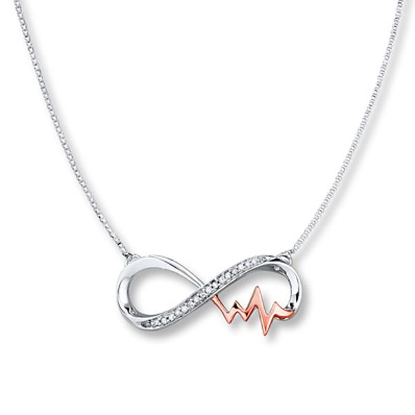 10k 14k White Gold Heartbeat Pulse Pendant Necklace