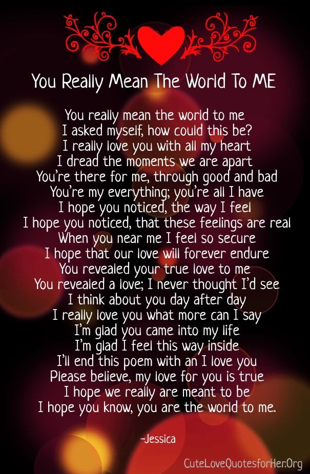 You Mean the World to Me Poems for Her & Him (With images