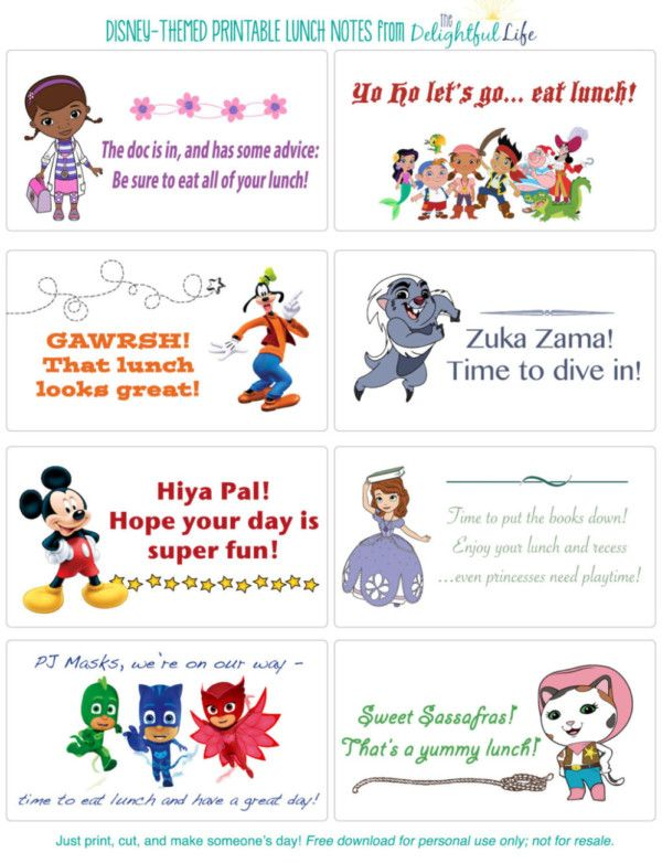 More than 50 printable Disney-themed Lunch Box Notes #50freeprintables