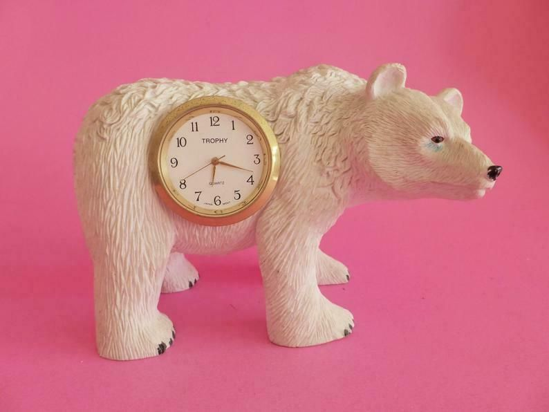 Vintage Polar Bear Clock, Trophy Decorative Clock, Kitsch Knick Knack Ornament #knickknack Vintage Polar Bear Clock, Trophy Decorative Clock, Kitsch Knick Knack Ornament #knickknack